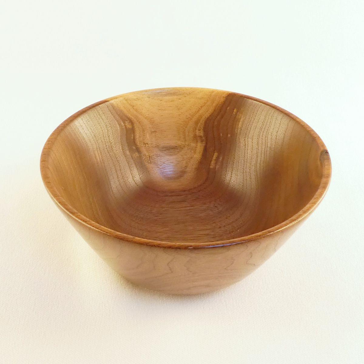 Black walnut striking contrast hand turned wood bowl. Functional art by Cynthia D. Haney