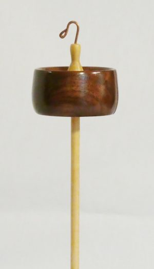 Top Whorl Drop Spindle with rim weighted notched black walnut wood whorl on a maple shaft with a hook by Cynthia D. Haney