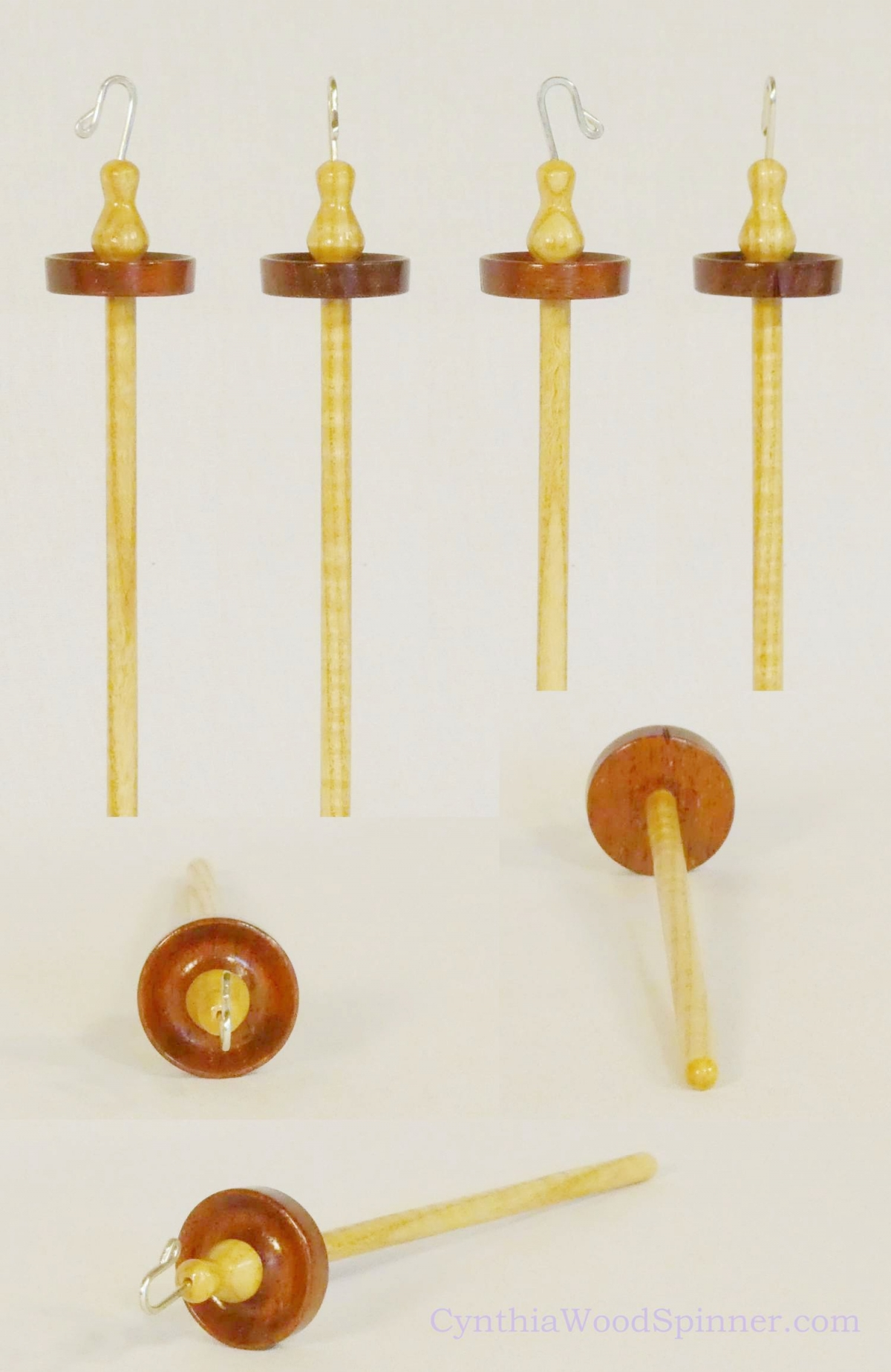 Mahogany and Curly Ash top whorl drop spindle with silver hook and notch hand turned by Cynthia D. Haney