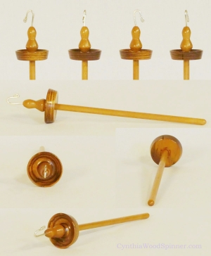 Zebrawood and silver top whorl drop spindle by Cynthia D. Haney