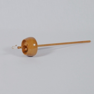 Stunning top whorl drop spindle in Cherry wood carved by Cynthia D. Haney of Cynthia Wood Spinner.