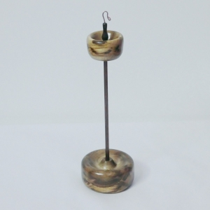 Myrtle and Black Walnut custom spectacular top whorl branch size drop spindle set with display stand by Cynthia D. Haney