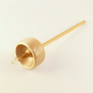 Maple on Cherry top whorl drop spindle with a hook and notch designed and made one of a kind by Cynthia D. Haney