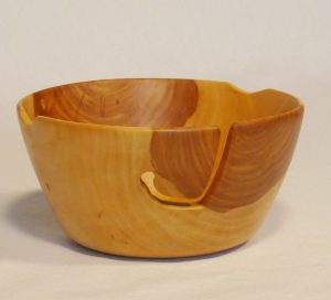 One of a kind spectacular Apple wood yarn bowl. Hand turned and carved by Cynthia D. Haney. Functional tools for the fiber artist.