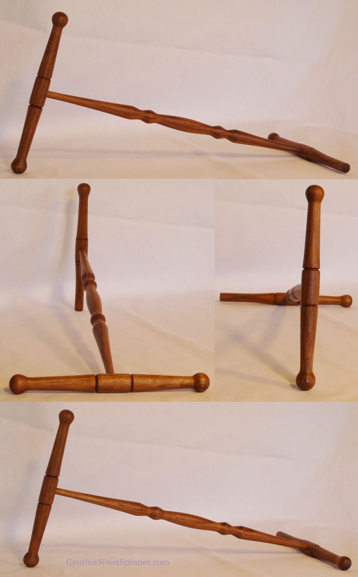 Full size niddy-noddy handmade from Walnut wood by Cynthia D. Haney on her woodlathe for winding or wrapping a 2 yard skein of yarn.