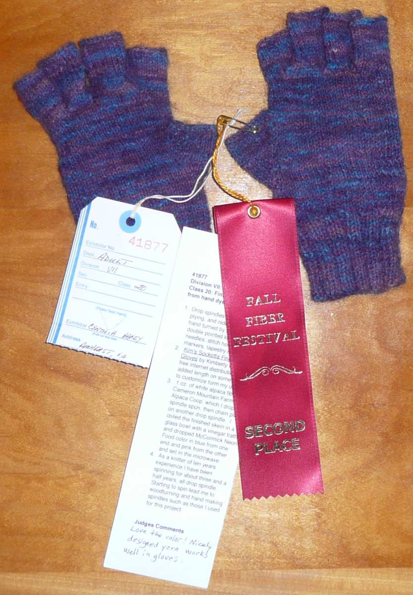 Hand spun alpaca yarn hand dyed and knit into fingerless gloves in purple with blue and pink accents
