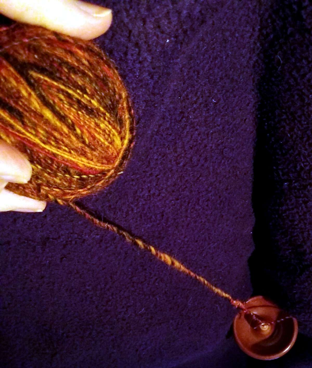 Join completed and spindle hanging from the plying ball.