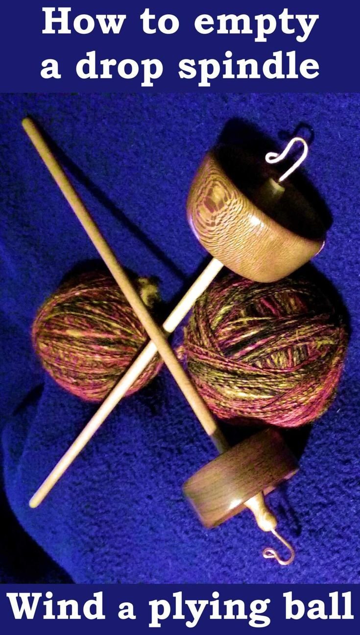 Picture of two top whorl drop spindles handmade by Cynthia D. Haney along with two balls of yarn.  Caption on picture is How to empty a drop spindle and wind a plying ball.  Links to a photo tutorial on the subject.