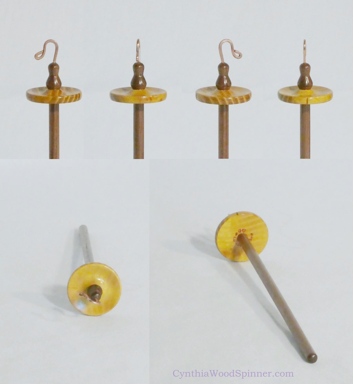 Osage Orange and Walnut wood tiny top whorl drop spindle for spinning lace handmade by Cynthia D. Haney>